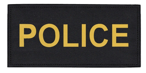 """POLICE Chest Patch, Printed, Hook w/Loop, Tactical Stlye, Gold/Black, 5-1/2x2-5/8"""""""
