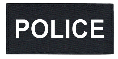 """POLICE Chest Patch, Printed, Hook w/Loop, Tactical Stlye, White/Midnight, 5-1/2x2-5/8"""""""
