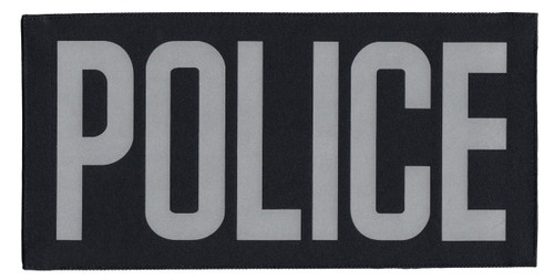 """POLICE Chest Patch, Printed, Reflective, Hook w/Loop, Tactical, Silver/Black, 5-1/2x2-5/8"""""""