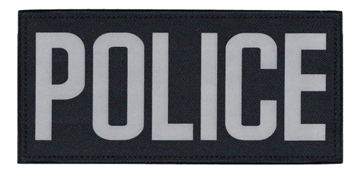 """POLICE Chest Patch, Printed, Reflective, Hook w/Loop, Tactical, Silver/Midnight, 5-1/2x2-5/8"""""""