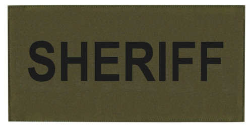 """SHERIFF Chest Patch, Printed, Hook w/Loop, Tactical Stlye, Black/O.D., 5-1/2x2-5/8"""""""