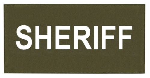 """SHERIFF Chest Patch, Printed, Hook w/Loop, Tactical Stlye, White/O.D., 5-1/2x2-5/8"""""""