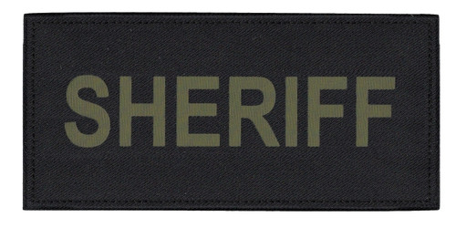 """SHERIFF Chest Patch, Printed, Hook w/Loop, Tactical Stlye, O.D./Black, 5-1/2x2-5/8"""""""