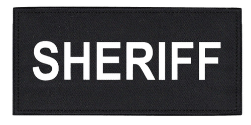 """SHERIFF Chest Patch, Printed, Hook w/Loop, Tactical Stlye, White/Black, 5-1/2x2-5/8"""""""