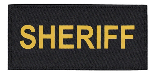"""SHERIFF Chest Patch, Printed, Hook w/Loop, Tactical Stlye, Gold/Black, 5-1/2x2-5/8"""""""