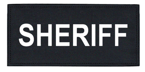 """SHERIFF Chest Patch, Printed, Hook w/Loop, Tactical Stlye, White/Midnight, 5-1/2x2-5/8"""""""