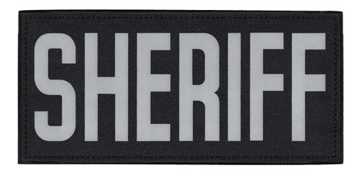 """SHERIFF Chest Patch, Printed, Relective, Hook w/Loop, Tactical, Silver/Black, 5-1/2x2-5/8"""""""