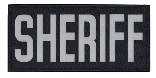 """SHERIFF Chest Patch, Printed, Relective, Hook w/Loop, Tactical, Silver/Midnight, 5-1/2x2-5/8"""""""