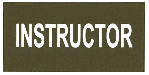 """INSTRUCTOR Chest Patch, Printed, Hook w/Loop, Tactical Stlye, White/O.D., 5-1/2x2-5/8"""""""