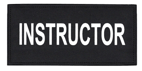"""INSTRUCTOR Chest Patch, Printed, Hook w/Loop, Tactical Stlye, White/Black, 5-1/2x2-5/8"""""""