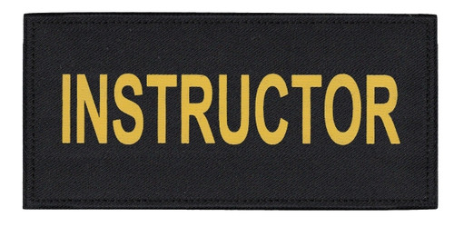 """INSTRUCTOR Chest Patch, Printed, Hook w/Loop, Tactical Stlye, Gold/Black, 5-1/2x2-5/8"""""""