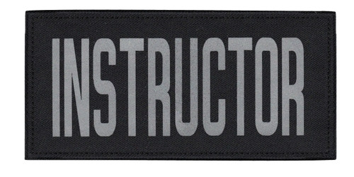 """INSTRUCTOR Chest Patch, Printed, Relective, Hook w/Loop, Tactical, Silver/Black, 5-1/2x2-5/8"""""""