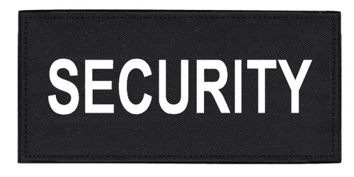 """SECURITY Chest Patch, Printed, Hook w/Loop, Tactical Stlye, White/Black, 5-1/2x2-5/8"""""""