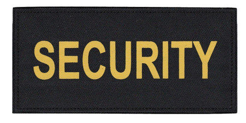"""SECURITY Chest Patch, Printed, Hook w/Loop, Tactical Stlye, Gold/Black, 5-1/2x2-5/8"""""""