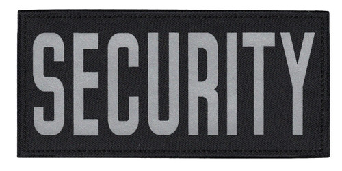 """SECURITY Chest Patch, Printed, Reflective, Hook w/Loop, Tactical, Silver/Black, 5-1/2x2-5/8"""""""