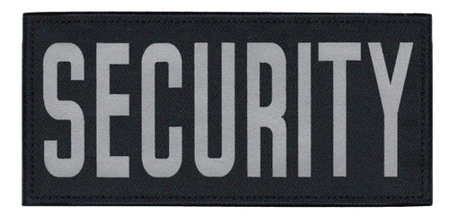 """SECURITY Chest Patch, Printed, Reflective, Hook w/Loop, Tactical, Silver/Midnight, 5-1/2x2-5/8"""""""