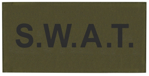 """S.W.A.T. Chest Patch, Printed, Hook w/Loop, Tactical Stlye, Black/O.D., 5-1/2x2-5/8"""""""