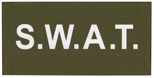 """S.W.A.T. Chest Patch, Printed, Hook w/Loop, Tactical Stlye, White/O.D., 5-1/2x2-5/8"""""""