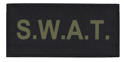 """S.W.A.T. Chest Patch, Printed, Hook w/Loop, Tactical Stlye, O.D./Black, 5-1/2x2-5/8"""""""