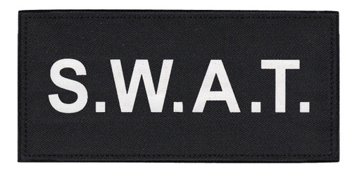 """S.W.A.T. Chest Patch, Printed, Hook w/Loop, Tactical Stlye, White/Black, 5-1/2x2-5/8"""""""