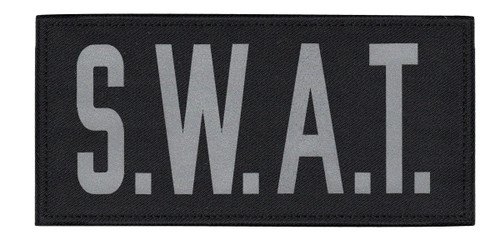 """S.W.A.T. Chest Patch, Printed, Reflective, Hook w/Loop, Tactical, Silver/Black, 5-1/2x2-5/8"""""""