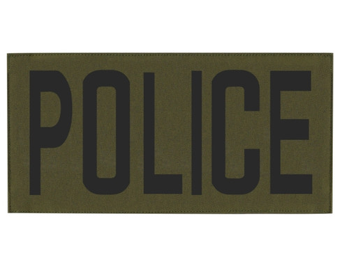 """POLICE, Back Patch, Printed, Hook w/Loop, Tactical Style, Black/O.D., 11x5-1/2"""""""