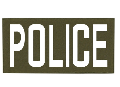 """POLICE, Back Patch, Printed, Hook w/Loop, Tactical Style, White/O.D., 11x5-1/2"""""""
