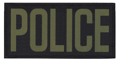 """POLICE, Back Patch, Printed, Hook w/Loop, Tactical Style, O.D./Black, 11x5-1/2"""""""