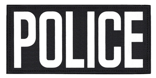 """POLICE, Back Patch, Printed, Hook w/Loop, Tactical Style, White/Black, 11x5-1/2"""""""