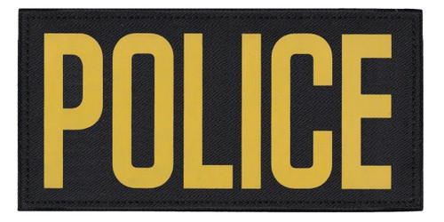 """POLICE, Back Patch, Printed, Hook w/Loop, Tactical Style, Gold/Black, 11x5-1/2"""""""