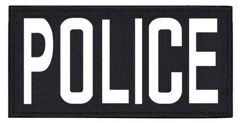 """POLICE, Back Patch, Printed, Hook w/Loop, Tactical Style, White/Midnight, 11x5-1/2"""""""