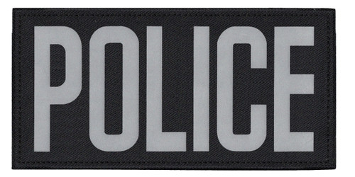 """POLICE, Back Patch, Printed, Reflective, Hook w/Loop, Tactical, Silver/Black, 11x5-1/2"""""""