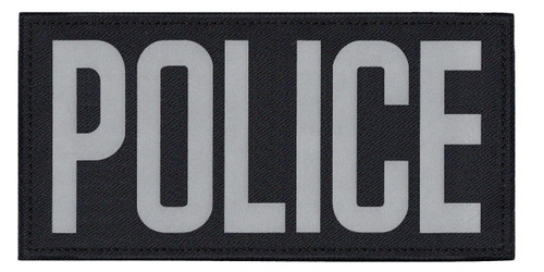 """POLICE, Back Patch, Printed, Reflective, Hook w/Loop, Tactical, Silver/Midnight, 11x5-1/2"""""""