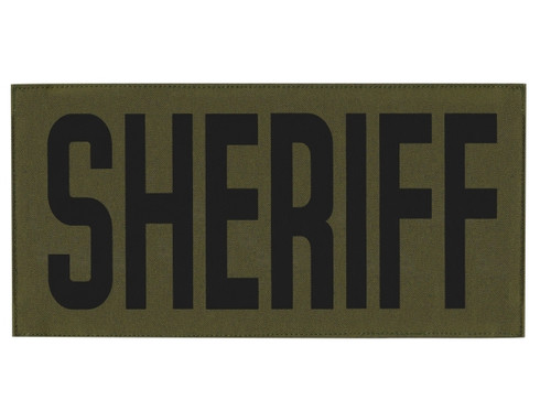 """SHERIFF, Back Patch, Printed, Hook w/Loop, Tactical Style, Black/O.D., 11x5-1/2"""""""