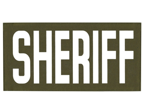 """SHERIFF, Back Patch, Printed, Hook w/Loop, Tactical Style, White/O.D., 11x5-1/2"""""""