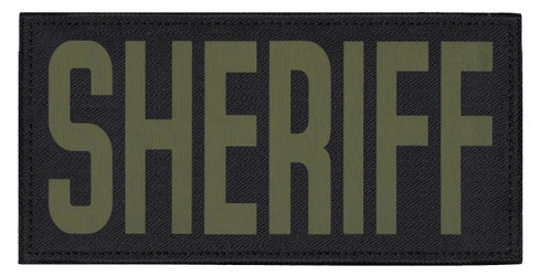 """SHERIFF, Back Patch, Printed, Hook w/Loop, Tactical Style, O.D./Black, 11x5-1/2"""""""