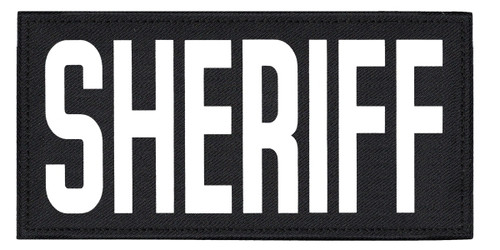 """SHERIFF, Back Patch, Printed, Hook w/Loop, Tactical Style, White/Black, 11x5-1/2"""""""