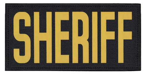 """SHERIFF, Back Patch, Printed, Hook w/Loop, Tactical Style, Gold/Black, 11x5-1/2"""""""
