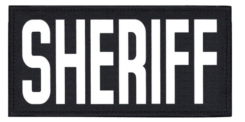 """SHERIFF, Back Patch, Printed, Hook w/Loop, Tactical Style, White/Midnight, 11x5-1/2"""""""