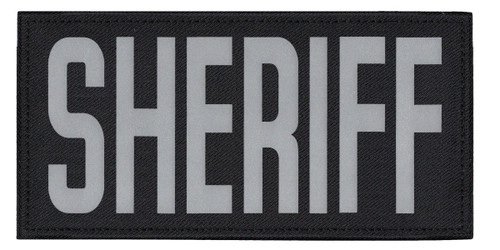 """SHERIFF, Back Patch, Printed, Reflective, Hook w/Loop, Tactical, Silver/Black, 11x5-1/2"""""""