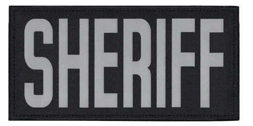 """SHERIFF, Back Patch, Printed, Reflective, Hook w/Loop, Tactical, Silver/Midnight, 11x5-1/2"""""""