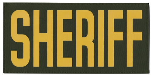 """SHERIFF, Back Patch, Printed, Hook w/Loop, Tactical Style, Gold/O.D., 11x5-1/2"""""""