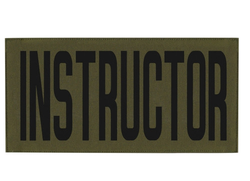 """INSTRUCTOR, Back Patch, Printed, Hook w/Loop, Tactical Style, Black/O.D., 11x5-1/2"""""""