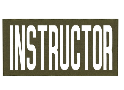 """INSTRUCTOR, Back Patch, Printed, Hook w/Loop, Tactical Style, White/O.D., 11x5-1/2"""""""