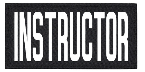 """INSTRUCTOR, Back Patch, Printed, Hook w/Loop, Tactical Style, White/Black, 11x5-1/2"""""""