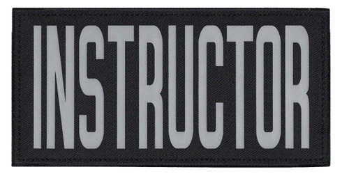 """INSTRUCTOR, Back Patch, Printed, Reflective, Hook w/Loop, Tactical, Silver/Black, 11x5-1/2"""""""