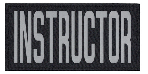 """INSTRUCTOR, Back Patch, Printed, Reflective, Hook w/Loop, Tactical, Silver/Midnight, 11x5-1/2"""""""