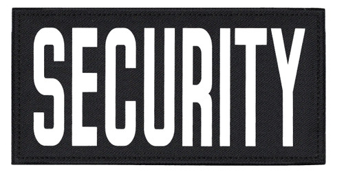 """SECURITY, Back Patch, Printed, Hook w/Loop, Tactical Style, White/Black, 11x5-1/2"""""""