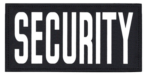 """SECURITY, Back Patch, Printed, Hook w/Loop, Tactical Style, White/Midnight, 11x5-1/2"""""""
