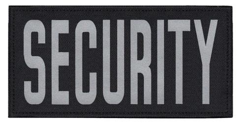 """SECURITY, Back Patch, Printed, Reflective, Hook w/Loop, Tactical, Silver/Black, 11x5-1/2"""""""